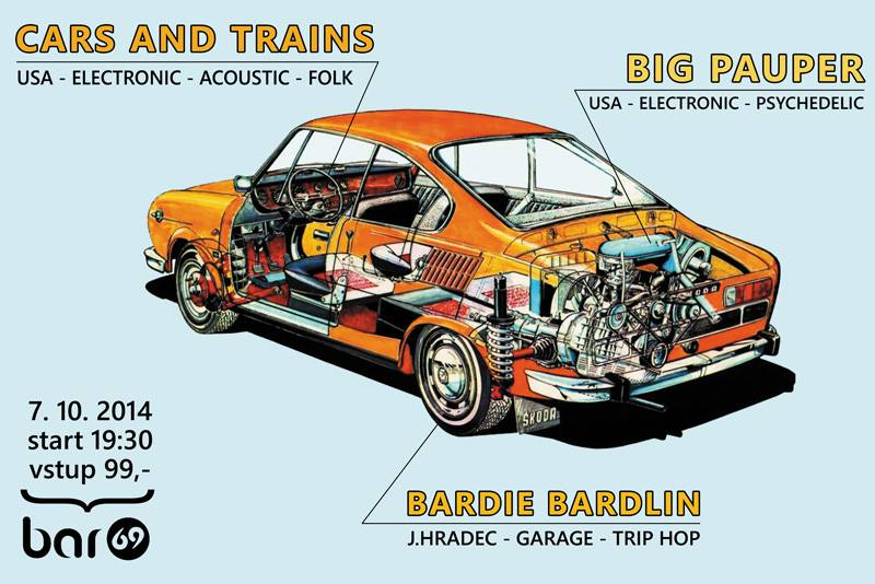 Koncert Cars and Trains (Portland, USA), Big Pauper (Portland, USA) a Bardie Bardlin (J. Hradec)